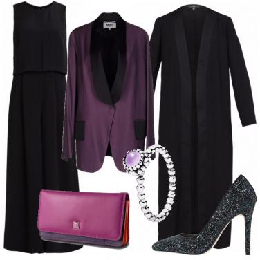 Outfit Festa viola e nere