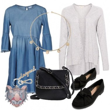 Outfit Basic jeansdress