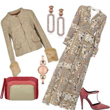 Outfit Tweed lame' oro e pellicia
