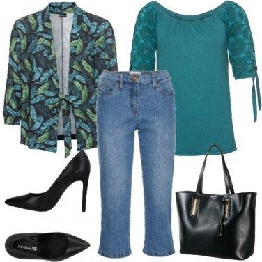 Outfit Fantasia foglie e color petrolio