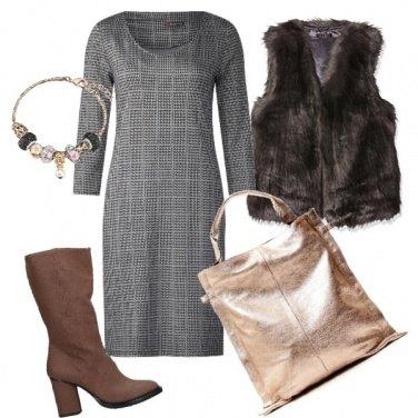 Outfit Tubino e pelliccia