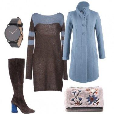 Donna Cappotto E Bon Bicolor Azzurro Ton Stivale Per Cielo Outfit HYZRw