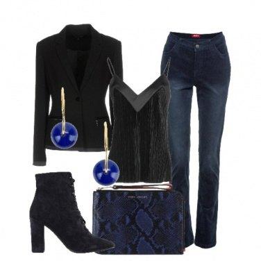 Outfit Mix di blu e nero