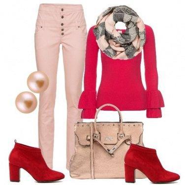 Outfit Rosso e rosa