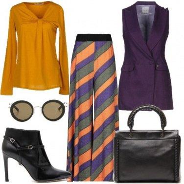 Outfit Viola e ocra