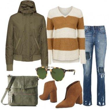 Outfit Maglia scollo a v e jeans