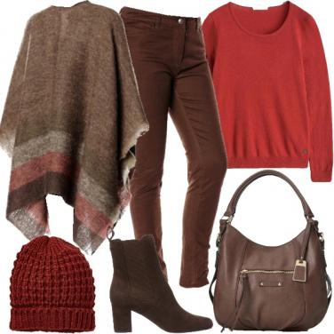 Outfit Inverno freddo, colori caldi