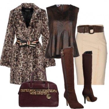 Outfit Con il calore del cappotto Animalier