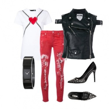 Outfit Rosso e pelle