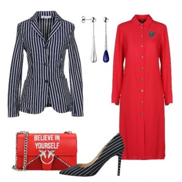Outfit Chemisier rosso giacca a righe