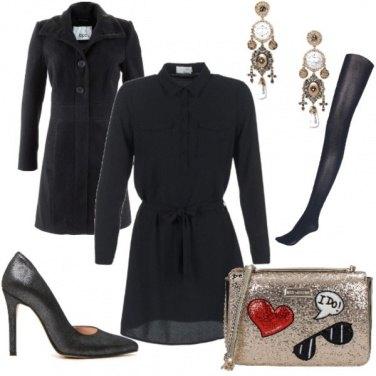 Outfit Serata fuori in nero e oro
