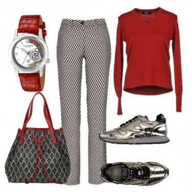 Outfit Rosso grigio glamour