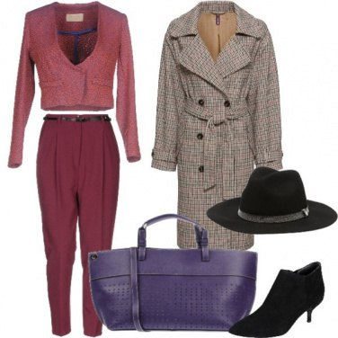 Outfit Tailleur e trench tartan