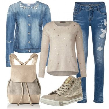Outfit Denim e sneakers