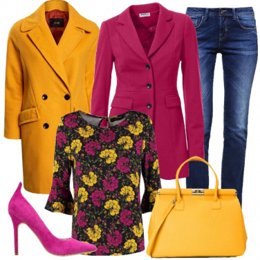 Outfit Giallo e fucsia