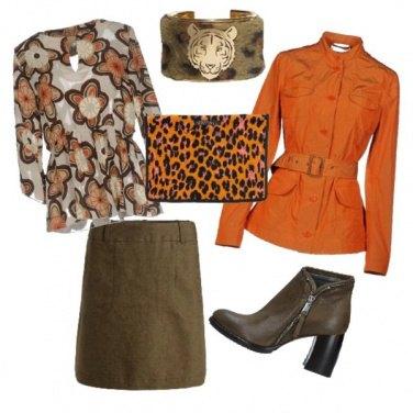 Outfit Verde e arancio