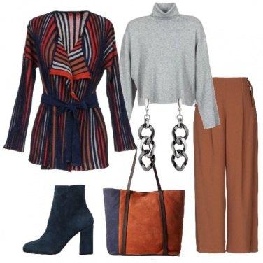 Outfit Cardigan rigato e stivaletto
