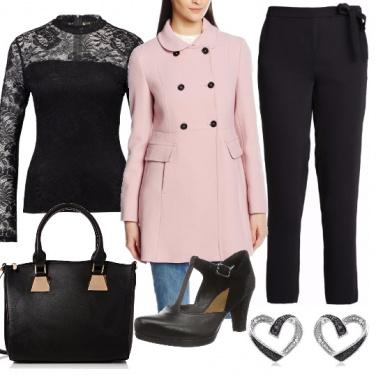 Outfit Romantica in rosa e nero