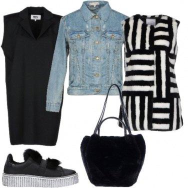 Outfit Vestito, giacca di jeans e gilet
