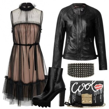 Outfit Il Rock in tulle, pelle e borchie