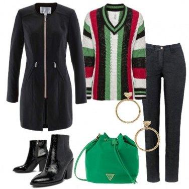Outfit Blazer lungo pullover rigato