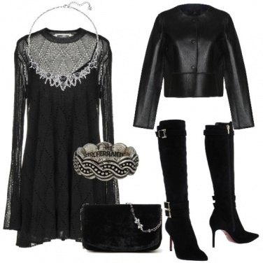 Outfit Total black rock con velluto