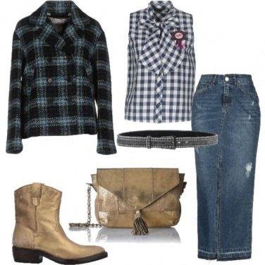 Outfit Western a quadri blu