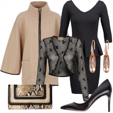 Outfit Raffinata in nero e beige