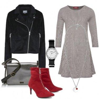 Outfit Aperitivo con stivaletti rossi