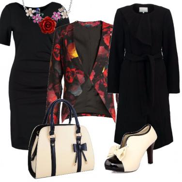 Outfit Bianco, nero e fiori
