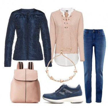 Outfit Maglia due in uno e piumino leggero