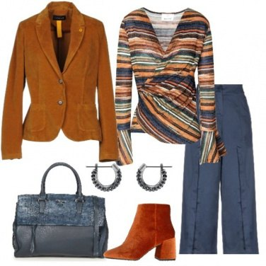 Outfit Giacca in velluto pullover rigato