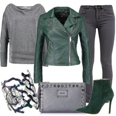 Outfit Rock in grigio e verde