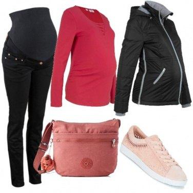Outfit Mamma in rosa e nero