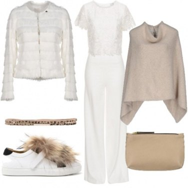 Outfit Sporty chic in bianco e beige