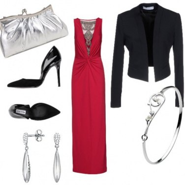 Outfit Sera in rosso e argento