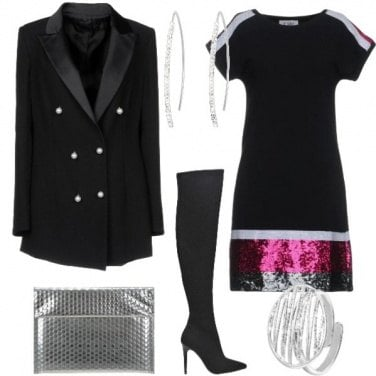 Outfit Paillettes Color Block