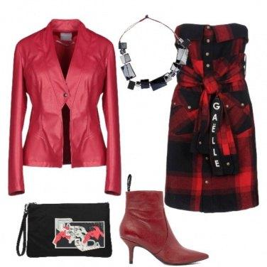 Outfit Stivaletti rossi e chemisier tartan