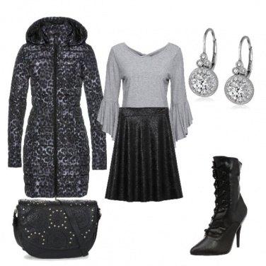 Outfit Piumino animal grigio