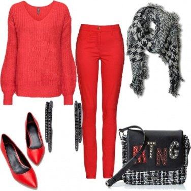 Outfit Rosso comfy e tartan