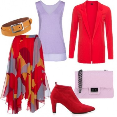 Outfit Rosso e multicolor