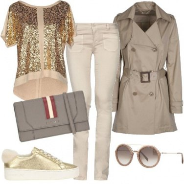 Outfit Oro e colori neutri