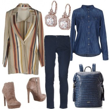 Outfit Giacca a righe e camicia di jeans