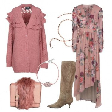 Outfit Vestito floreale e cardigan con rouches