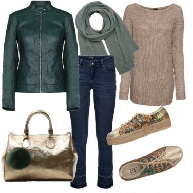 Outfit Verde e beige