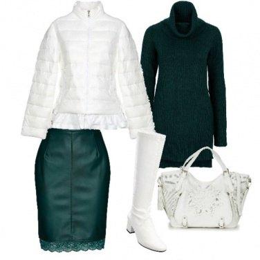 Outfit Verde e bianco sexy contro il freddo