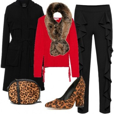 Outfit Rosso e Animalier in low-cost