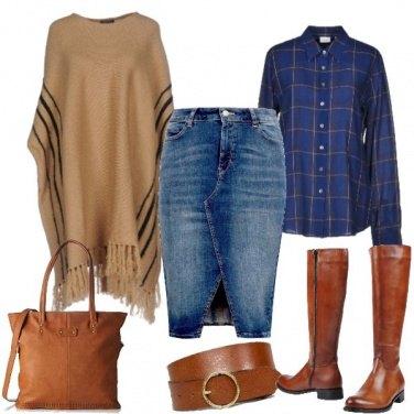 Outfit Gonna di jeans e camicia tartan