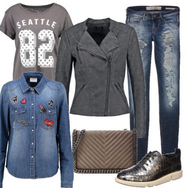 Outfit Grigio grunge