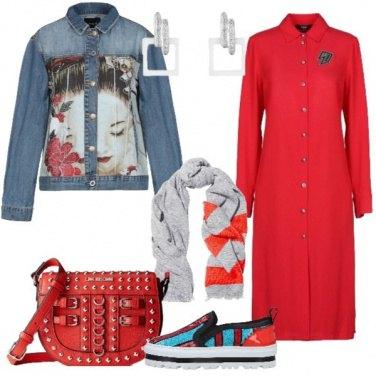 Outfit Giubbotto con stampa accessori rigati